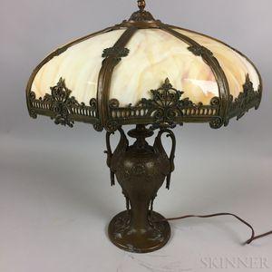 Bronze White Metal and Slag Glass Table Lamp