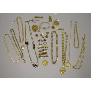 Group of Victorian Gilt and Metal Jewelry Items