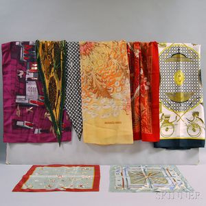 Eight Hermès Silk and Cashmere Scarves and Kerchiefs