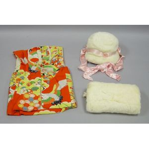 Childs Chinese Quilted Silk Vest and a White Fur and Pink Silk Satin Hat and Muff Set.