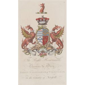 Six Framed Hand-colored Engravings of British Coats of Arms