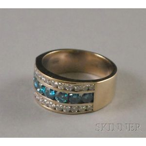18kt White Gold, Diamond, and Blue Diamond Ring