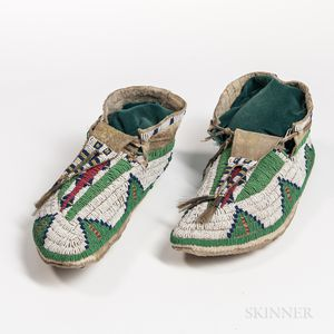 Pair of Plains Beaded Moccasins