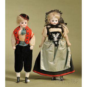 Pair of All Original Provincial Dolls
