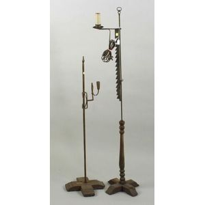 Two English Wrought Iron Rush Lamps