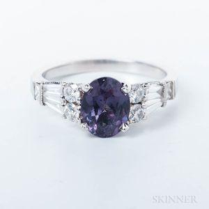 18kt White Gold and Color-change Garnet Ring