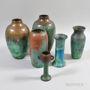 Six Clewell Pottery Vases