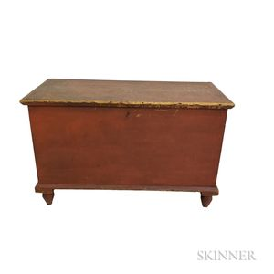 Red-painted Pine Six-board Chest