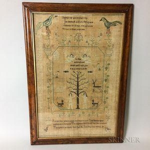 Framed Silk and Linen Adam and Eve Needlework Sampler