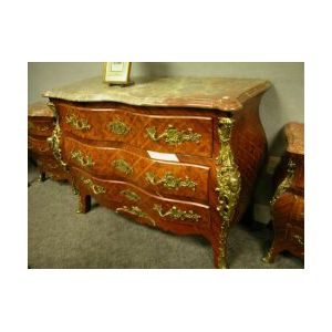 Louis XV Style Marble-top Ormolu Mounted Parquetry Bombe Commode.