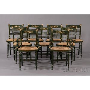 Set of Nine Green-painted and Freehand-gilt Fancy Chairs Including Two Armchairs