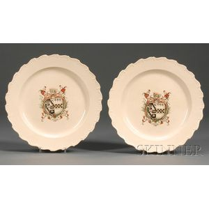 Pair of Enamel Decorated Armorial Plates