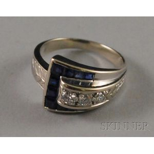 14kt White Gold, Diamond, and Sapphire Buckle Ring