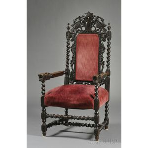 """Continental Baroque-style Carved Oak and Velvet-upholstered """"Great Chair,"""""""