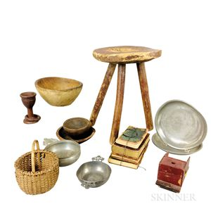 Group of Wood and Pewter Decorative Items and Books