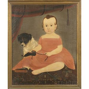 Attributed to William Matthew Prior (American, 1806-1873)    Portrait of Child with a Pet Dog.