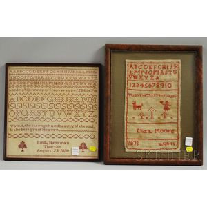 Two Framed 19th Century Needlework Samplers