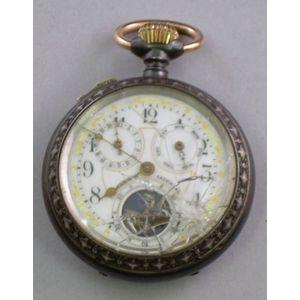 Reverse Painted Enamel Dial Patent Calendar Pocket Watch