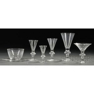 Set of Steuben Colorless Glass Stemware