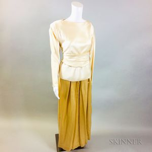 Oscar de la Renta Silk Crepe Shirt and Skirt