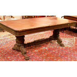 Empire-style Carved Mahogany Library Table
