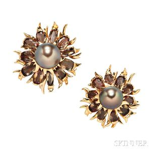 Pair of 18kt Gold, Tahitian Pearl, and Citrine Flower Brooches, Marilyn Cooperman