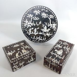 Three Chinese Lacquered and Mother-of-pearl-inlaid Boxes