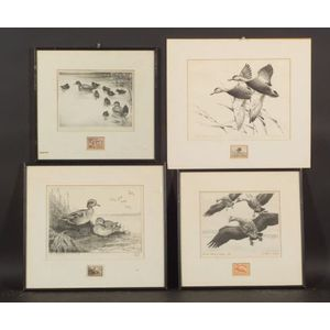 Lot of Four Federal Duck Stamps:    Lynn Bogue Hunt (American, 1878-1960),   ED 2 #3 Federal Duck Stamp Design - 1939