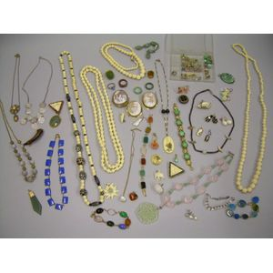 Group of Hardstone, Bone, and Ivory Jewelry Items