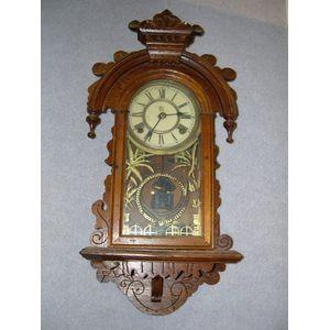 Waterbury Watch and Clock Co. Walnut Gingerbread Wall Clock