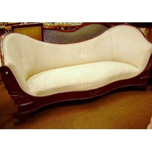 Empire Upholstered Carved and Inlaid Mahogany Veneer Sofa.