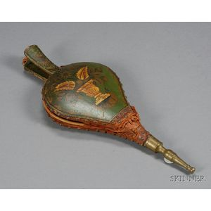 Gilt and Paint-decorated Wood and Leather Bellows