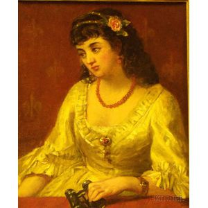 Framed Oil on Canvas Portrait of a Woman with Opera Glasses by Wells