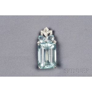 Platinum, Aquamarine, and Diamond Pendant/Brooch, Mounted by Cartier