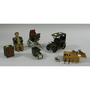 Group of Painted Metal Banks and Toys