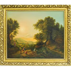 American or Continental School, 20th/21st Century      Arcadian Landscape in the Manner of Poussin.