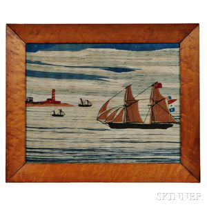 Woolwork Picture of Sailing Vessels and Lighthouse