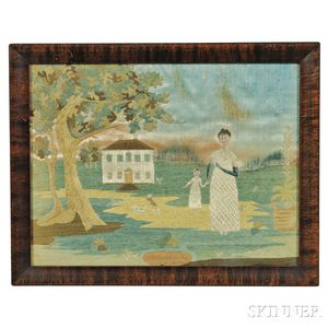 Small Silk and Watercolor Needlework Picture