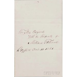 Fillmore, Millard (1800-1874) Autograph Endorsement Signed, Buffalo, New York, 11 October 1861.