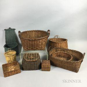 Nine Small Woven Splint Handled Baskets
