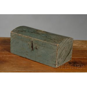 Blue Paint-decorated Dome-top Pine Box