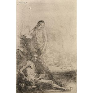 Rembrandt van Rijn (Dutch, 1606-1669) Nude Man Seated Before a Curtain, 1646, an 18th century impression (Hind, 220; Bartsch & Holls...