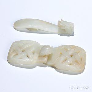 Two Nephrite Jade Belt Buckles