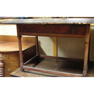 Pine Breadboard-top Tavern Table with Long Drawer.