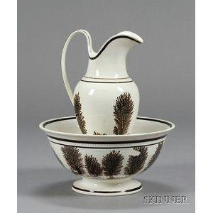 Mochaware Ewer and Bowl