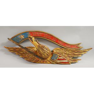 """Bellamy-style Carved Giltwood and Painted Pine Eagle and """"Don"""