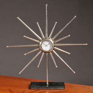 Modern Metal and Stone Starburst Clock