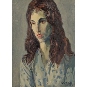 Raphael Soyer (American, 1899-1987)      Head of a Girl in Blue