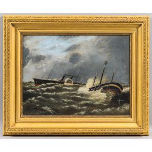F.B. Knox (British, b. 1893)      Paddlewheel Steamer and Sinking Ship in Rough Seas