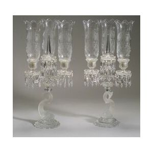 Pair of Baccarat Colorless Frosted Glass Convertible Dolphin-form Candelabra